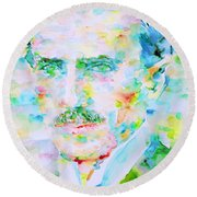 Nikola Tesla Watercolor Portrait Round Beach Towel