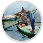 Nile River Fishermen  Round Beach Towel
