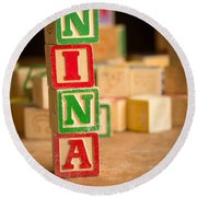 Nina - Alphabet Blocks Round Beach Towel