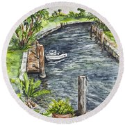 Ninas Back Yard Round Beach Towel
