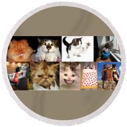 Nine Lives And Mood Swings Round Beach Towel