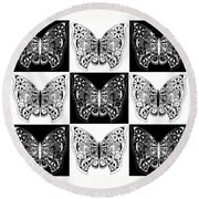Nine Lives - Black And White Round Beach Towel