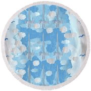 Nine Of Swords Round Beach Towel