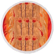 Nine Of Wands Round Beach Towel
