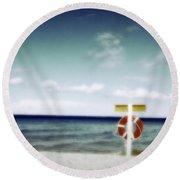 Lake Huron Michigan Waves Round Beach Towel