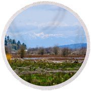 Nisqually Delta Of The Nisqually National Wildlife Refuge Round Beach Towel