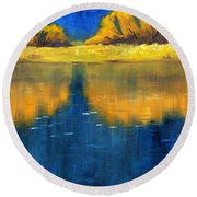 Nisqually Reflection Round Beach Towel by Nancy Merkle