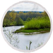Nisqually River From The Nisqually National Wildlife Refuge Round Beach Towel