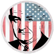 Lyndon Johnson Round Beach Towel
