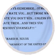 Nixon Quote In Cyan Round Beach Towel