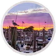 Nj's Sunset Round Beach Towel
