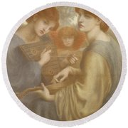 No. 1011 Study For The Bower Meadow Round Beach Towel by Dante Gabriel Charles Rossetti