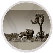 Joshua Tree National Park Landscape No 4 In Sepia  Round Beach Towel