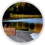 No Fishing Round Beach Towel