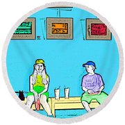 No Frisbee In The Gallery Round Beach Towel