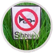 No Horn Shhh... Round Beach Towel