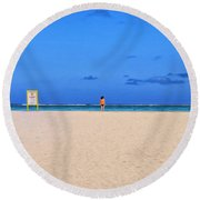 No Life Guard On Duty Round Beach Towel