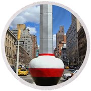No Limits Exhibit Metlife Building Midtown Round Beach Towel