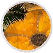 Sunshine Yellow Silk Decor With Stars Round Beach Towel