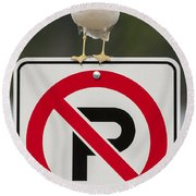 No Parking Round Beach Towel