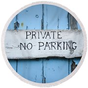 No Parking Sign Round Beach Towel