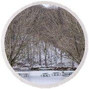 Snowy Picnic Ground In Winter Round Beach Towel