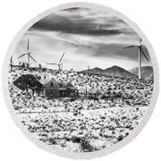 No Place Like Home Bw Palm Springs Desert Hot Springs Round Beach Towel