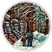 No School Today Out For A Snowy Walk Verdun Winter Winding Staircases Montreal Paintings C Spandau Round Beach Towel