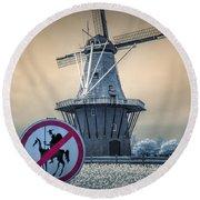 No Tilting At Windmills Round Beach Towel