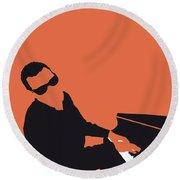 No003 My Ray Charles Minimal Music Poster Round Beach Towel