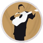 No010 My Johnny Cash Minimal Music Poster Round Beach Towel