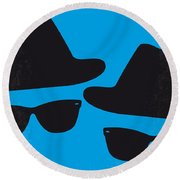 No012 My Blues Brother Minimal Movie Poster Round Beach Towel by Chungkong Art