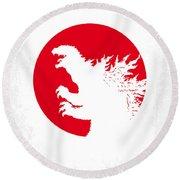 No029-2 My Godzilla 1954 Minimal Movie Poster.jpg Round Beach Towel