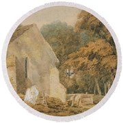 No.0735 A Country Churchyard, C.1797-98 Round Beach Towel