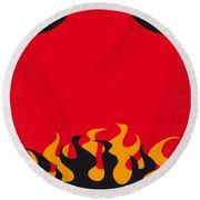 No131 My Hellboy Minimal Movie Poster Round Beach Towel by Chungkong Art