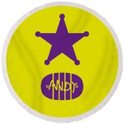 No190 My Toy Story Minimal Movie Poster Round Beach Towel by Chungkong Art