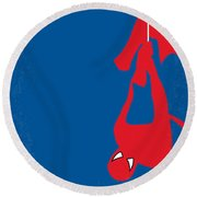 No201 My Spiderman Minimal Movie Poster Round Beach Towel