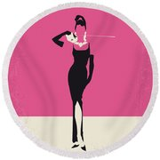 No204 My Breakfast At Tiffanys Minimal Movie Poster Round Beach Towel