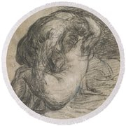 Couple In An Embrace Round Beach Towel