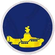 No257 My Yellow Submarine Minimal Movie Poster Round Beach Towel