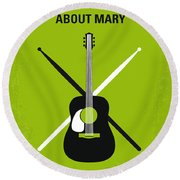 No286 My There's Something About Mary Minimal Movie Poster Round Beach Towel