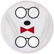 No324 My Mr Peabody Minimal Movie Poster Round Beach Towel