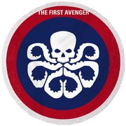 No329 My Captain America - 1 Minimal Movie Poster Round Beach Towel