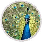 Noble Peacock Round Beach Towel