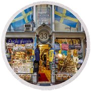 Noble Souvenirs. Stockholm 2014 Round Beach Towel