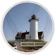 Nobska Lighthouse On Cape Cod At Woods Hole Massachusetts Round Beach Towel