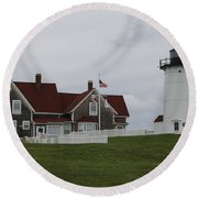 Nobska Point Light Round Beach Towel
