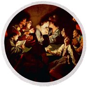 Nocturnal Concert Round Beach Towel by Jean  Leclerc