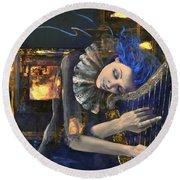Nocturne Round Beach Towel by Dorina  Costras