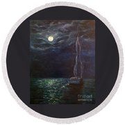 Nocturne Song Round Beach Towel